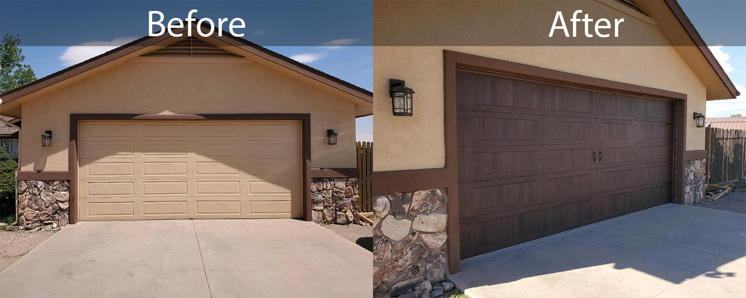 Before After garage door replacement